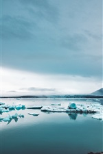 Preview iPhone wallpaper Icebergs, ice, lake, snow, winter