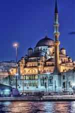 Istanbul, Turkey, New mosque, minaret, night, lights