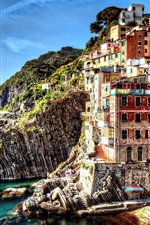 Preview iPhone wallpaper Italy, Cinque Terre, beautiful village, sea, houses, rocks