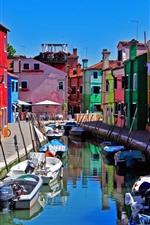 Italy, Venice, Burano island, boats, river