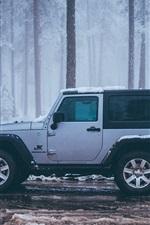 미리보기 iPhone 배경 화면 지프 JK 랭글러 차 측면보기, 눈, 겨울