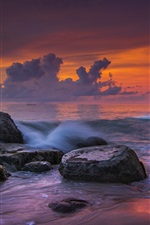 iPhone обои Пляж Кхао Лак, море, камни, закат, Таиланд