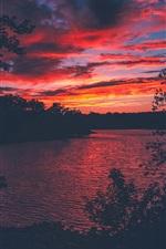 Lago Lanier, EUA, árvores, pôr do sol