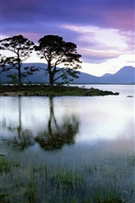 Preview iPhone wallpaper Lake, island, trees, clouds, dusk