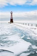 iPhone fondos de pantalla Faro, mar, nieve, invierno