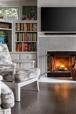 Preview iPhone wallpaper Living room, fireplace, sofa, chair, books, television