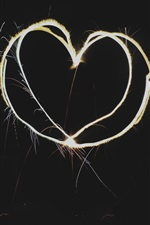 Preview iPhone wallpaper Love heart, light, fireworks, black background