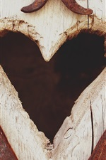 Preview iPhone wallpaper Love heart, wood board