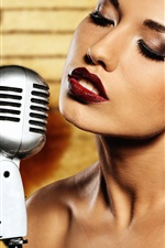 Preview iPhone wallpaper Makeup girl, lips, microphone