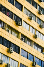 Preview iPhone wallpaper Many air conditioners, wall, building, windows