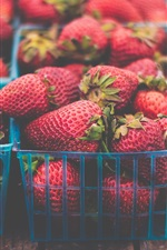 Preview iPhone wallpaper Many fresh strawberries, basket