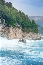 Preview iPhone wallpaper Montenegro, sea, mountains, trees, rocks, waves