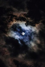 Preview iPhone wallpaper Moon, clouds, sky, night