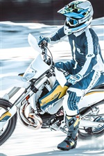 Preview iPhone wallpaper Motorcyclist, speed, motorcycle race, snow
