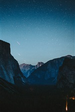 Mountains, sky, starry, waterfall, night