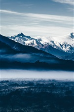 Preview iPhone wallpaper Mountains, snow, dawn, fog
