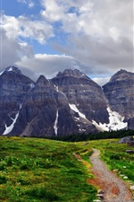 Preview iPhone wallpaper Mountains, snow, path, grass, sky, clouds