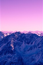 Preview iPhone wallpaper Mountains, snow, purple sky