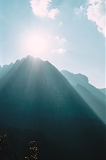 Preview iPhone wallpaper Mountains, sun rays, fog, clouds, sky