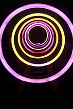 Neon lights, circles, black background
