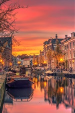 Preview iPhone wallpaper Netherlands, canal, river, boats, city