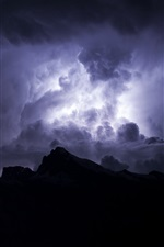 iPhone обои Ночь, буря, облака, небо, молния