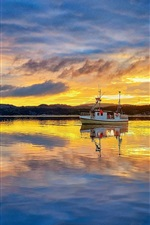 Preview iPhone wallpaper Norway, Rogaland, fisherman, fisher boat, sea, morning, sunrise