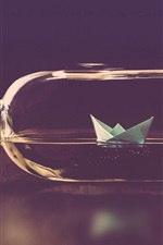 Preview iPhone wallpaper Paper ship, glass bottle, water, creative