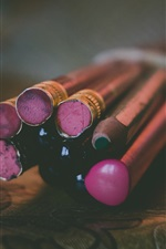Pencils close-up, bokeh