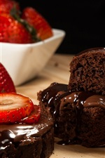 Preview iPhone wallpaper Pieces of chocolate cake, strawberry, dessert