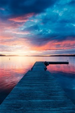 Preview iPhone wallpaper Pier, bridge, lake, sunset