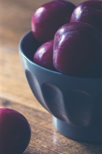 Preview iPhone wallpaper Plums, fruit, bowl