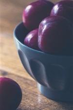 Ameixas, frutas, tigela