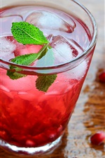 Preview iPhone wallpaper Pomegranate drinks, mint, lemonade, ice cubes