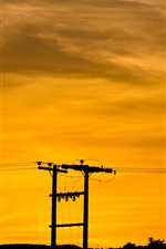 Preview iPhone wallpaper Power lines, wires, sunset