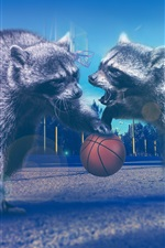 Raccoons play basketball, creative picture