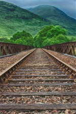 Railway, mountains, green, HDR style
