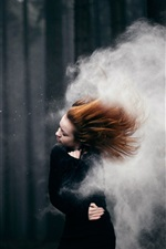 Preview iPhone wallpaper Red hair girl, storm, smoke, trees