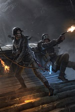 Preview iPhone wallpaper Rise of the Tomb Raider, Lara Croft, bow, wolf, fire