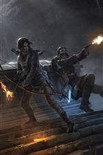 Rise of the Tomb Raider, Lara Croft, arco, lobo, fogo