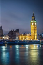 Preview iPhone wallpaper River, water reflection, night, bridge, lights, Big Ben, England, London
