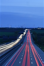 Preview iPhone wallpaper Road, light lines, traffic, evening