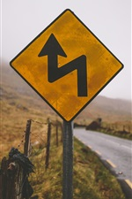 Preview iPhone wallpaper Road sign, countryside