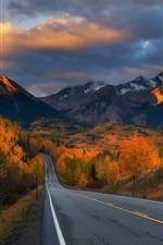 Road, trees, mountains, autumn, clouds, dusk