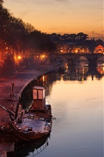iPhone fondos de pantalla Roma, Vaticano, río, espejo, puente, ciudad, noche, luces