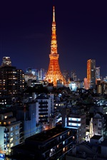 Preview iPhone wallpaper Roppongi, Minato, Japan, Tokyo, tower, night, city, lights
