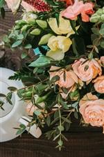 Rose flowers, tea, teapot