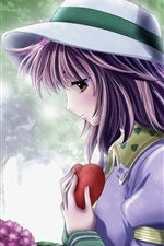 Preview iPhone wallpaper Sadness anime girl, purple hair, hat, rain