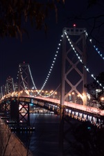Preview iPhone wallpaper San-Francisco, bridge, bay, night, lights, USA