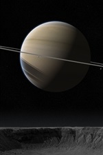 Preview iPhone wallpaper Saturn, crater, satellite, stars, space